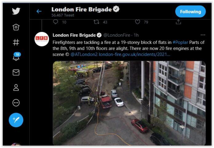 Londra, vigili del fuoco, incendio