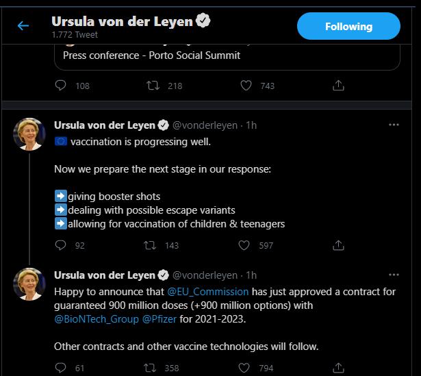 Ursula von der Leyen, Twitter, post