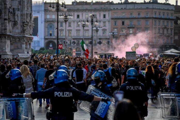 scontri roma no green pass fonte twitter